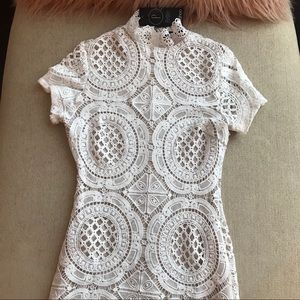 Boohoo Petite White Crochet Dress